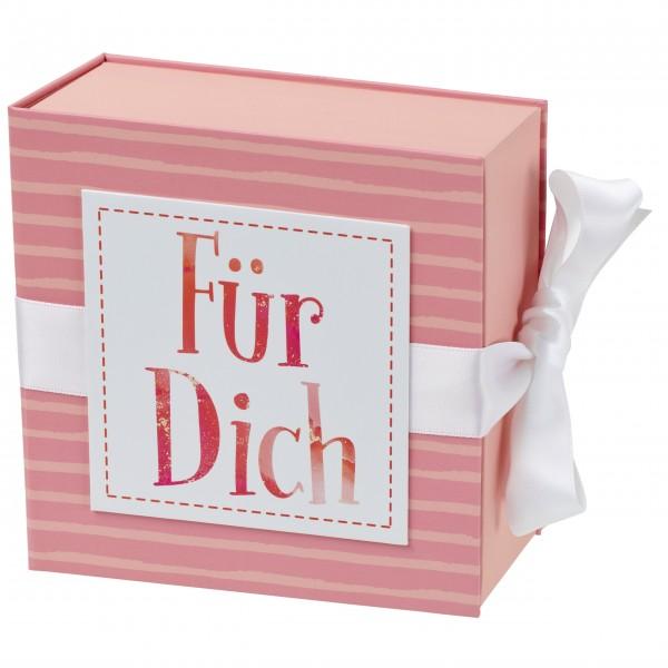 Geschenkschachtel mit Band 13 x 13 cm, Für Dich