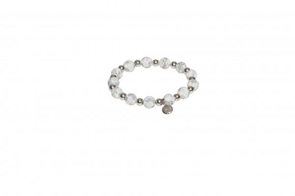 VE Armband Casual Glam weiß, Silberperlen 9mm (3 Stk.)