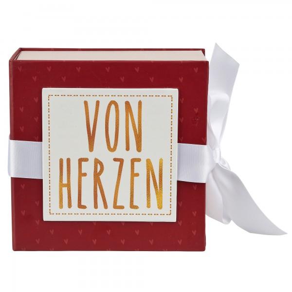 Geschenkschachtel mit Band 10 x 10 cm, Von Herzen