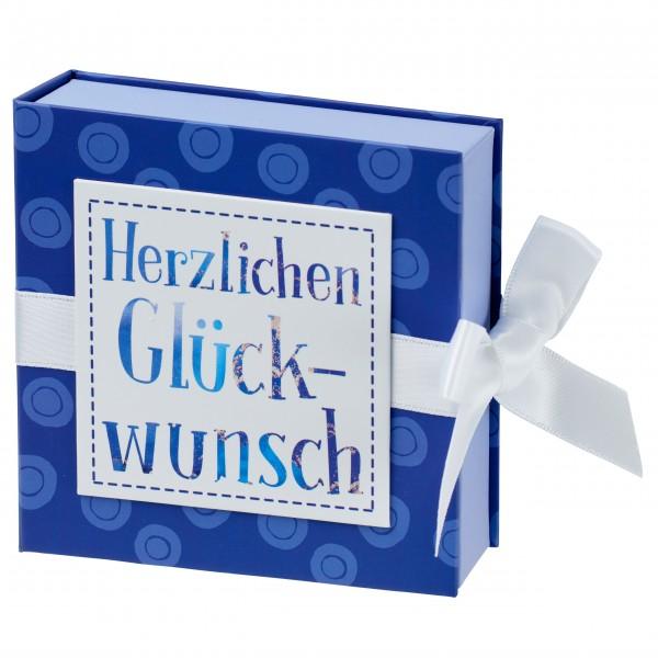 Geschenkschachtel mit Band 10 x 10 cm, Herzlichen Glückwunsch