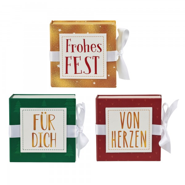 Set klein Geschenkschachtel mit Band 10 x 10 cm, 18 Stk, 3-fach sortiert
