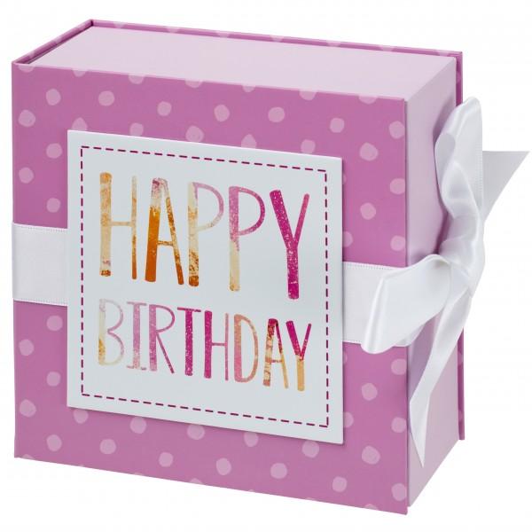 Geschenkschachtel mit Band 13 x 13 cm, Happy Birthday
