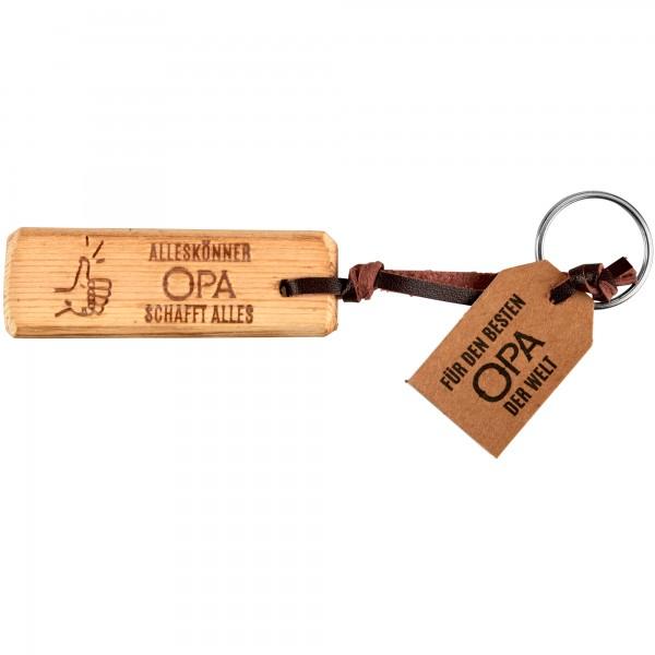 Schlüsselanhänger Holz- Opa schafft alles