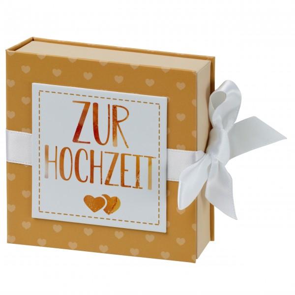 Geschenkschachtel mit Band 10 x 10 cm, ZUr Hochzeit