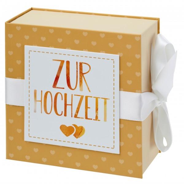 Geschenkschachtel mit Band 13 x 13 cm, Zur Hochzeit