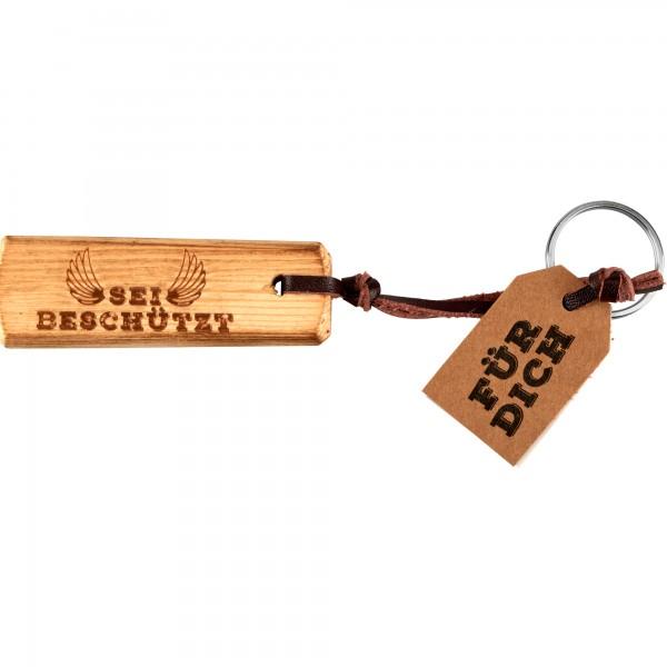 Schlüsselanhänger Holz- Sei beschützt