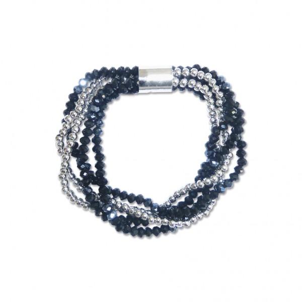 VE Armband Wave, mehrlagig, Onyx (silber) (3 Stk.)