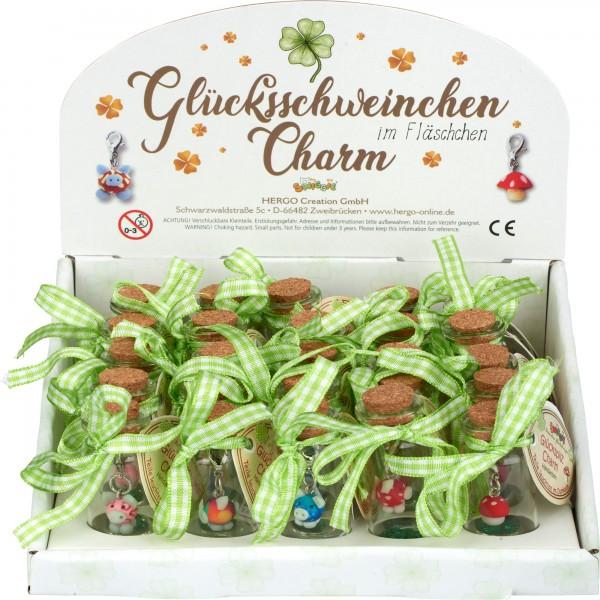 Set Glücksschweinchen-Charms in Fläschchen, 25 Stk, sort