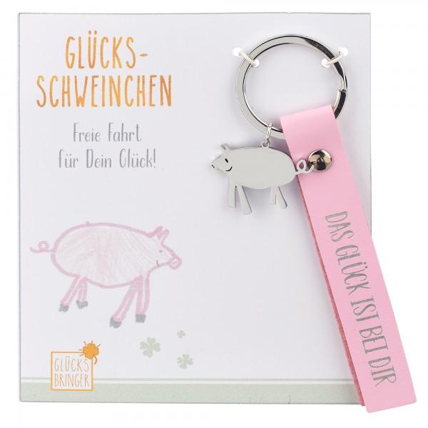 Schlüsselanhänger mit Glücksbringer, Schwein