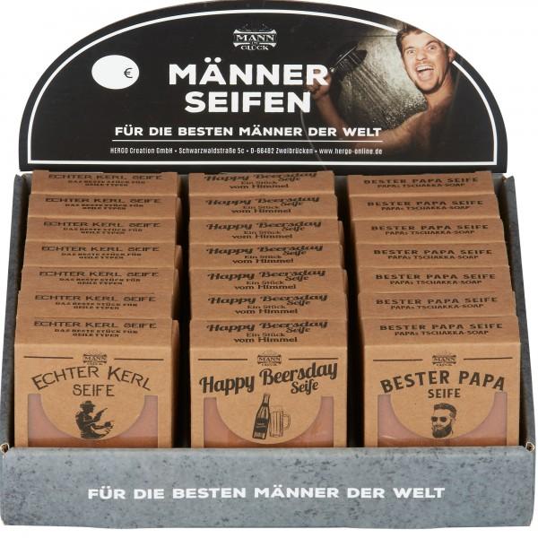 Set Männer-Seifen, 21 Stk, 3-fach sort