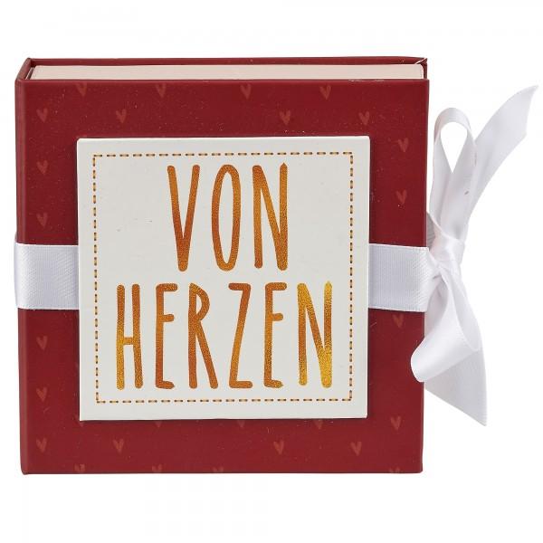 Geschenkschachtel mit Band 13 x 13 cm, Von Herzen