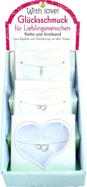 Glücksschmuck-Set, 20 Armbänder und 5 Ketten