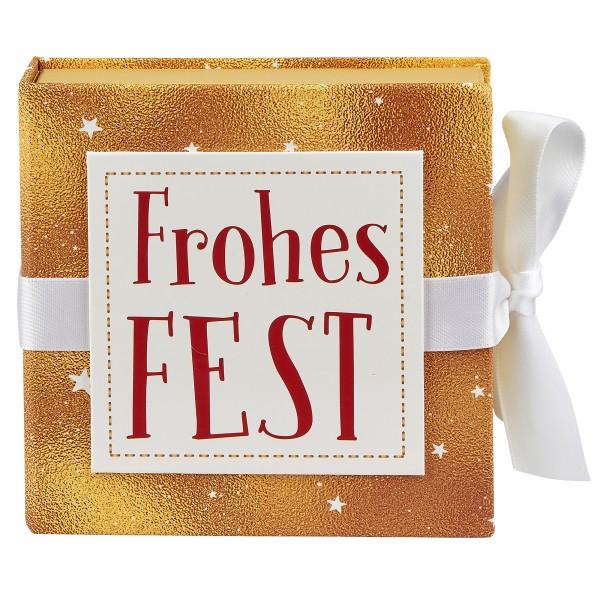 Geschenkschachtel mit Band 10 x 10 cm, Frohes Fest