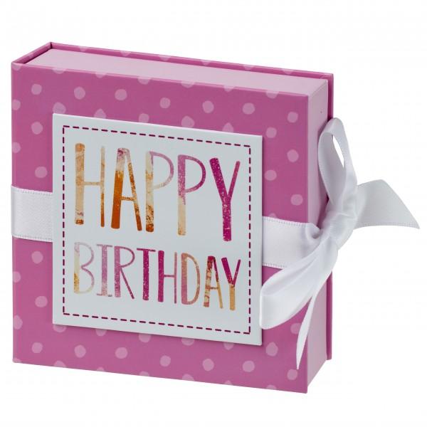 Geschenkschachtel mit Band 10 x 10 cm, Happy Birthday