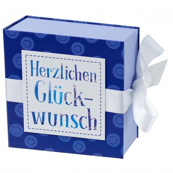 Geschenkschachtel mit Band 13 x 13 cm, Herzlichen Glückwunsch